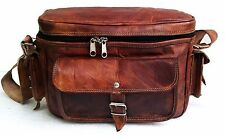 Genuine Leather Vintage DSLR Camera Lens Shoulder Bag Messenger Cross-Body Case