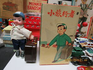 YOUNG TRAVELLER WIND UP BOY WITH SUITCASE IN BOX RED CHINA WORKS N MINT 50s-60s