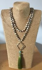 Fashion semi precious stone 6-8mm long knot  Natural Stones w Tassle Necklace
