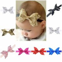 "4"" Synthetic Leather Glitter Bow Headband Head Hair Band Bands Baby Girls"