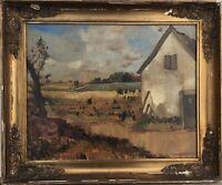 IMPRESSIONIST LUDVIG JACOBSEN 1890-1957 SOMMERLANDSCHAFT MIT BAUERNHOF 49 x 59