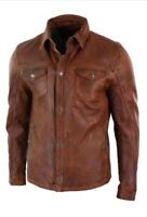 Mens Vintage Distressed Brown Leather Shirt Jacket