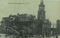 .SYDNEY , THE TOWN HALL NEW SOUTH WALES EARLY 1900'S POSTCARD