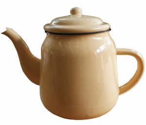 Large Enamel Teapot vintage style.1.5 litre, kitchen, garden planter yellow/blue