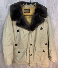 Vintage Eddie Bauer Goose Down Coat Jacket Beige Tan w Faux Fur Collar Large??