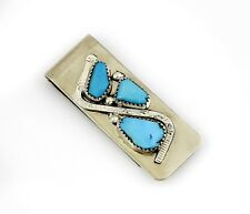 Natural Hand Cut Turquoise Money Clip Vtg Navajo Indian .925 Sterling Silver &