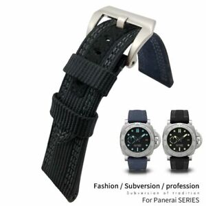 26mm Nylon Canvas Watch Strap Leather Watch Band For PANERAI Luminor Submersible