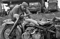 WW2 Photo German Soldier with a BMW motocycle 1942 WWII 148
