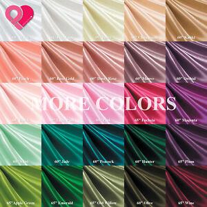 "60""-65"" Premium BRIDAL SATIN FABRIC 60 Color Silky Smooth Ultra Shiny 156g Soft"