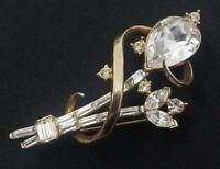 Vintage Alfred Philippe Crown Trifari Patent Pending Rhinestones Flower Brooch