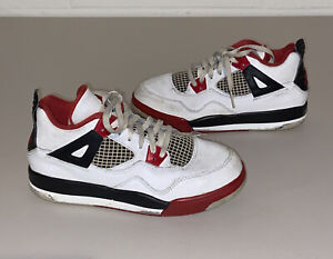Jordan Retro 4 Fire Red Youth Shoes - Size 3Y - White/Red