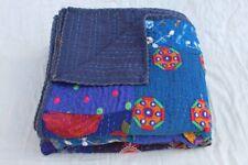 Indian vintage silk khambhadia patchwork kantha quilt handmade bedding bedspread