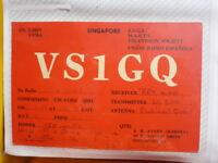 OLD VINTAGE QSL HAM RADIO CARD. SINGAPORE. 1960
