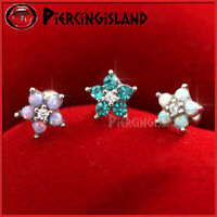 16g 20g Opal Crystal Flower Ear Cartilage Tragus Ring Bar Stud Piercing Earring