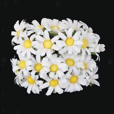 100 x Mini Daisy Flower Cards Craft Accessories Hats Artificial Silk White
