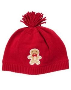 GYMBOREE GINGERBREAD BOY RED GINGERBREAD COOKIE SWEATER HAT 0 3 6 12 18 24 NWT