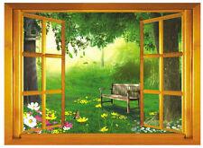 Fenster 3D Baum Sommer Blatt Wandaufkleber Wandgemälde Wandtattoo Tapeten
