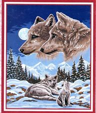 """""""Wolf Pair Pack dreams"""" Tapestry cotton kit to stitch- 50 x 60cm..limited stock!"""