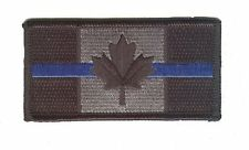 """IRON-ON Canada flag 3.5"""" x 1.75""""  black/silver blue line SWAT police patch"""
