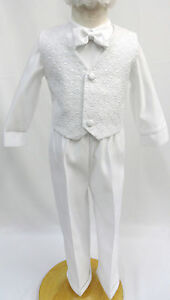 New Infant Toddler & Boys CHRISTENING BAPTISM White Pants Suit Outfit