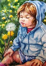Girl * Child * Flowers *   O/E Print   ACEO  by  Vicki