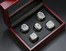 Dallas Cowboys NFL World Championship 5 Replica Display Silver Ring Set with Box
