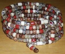 Assortment of Brown Earth Tone Beads - Coil Bracelet Made in USA  Beaded Wrap