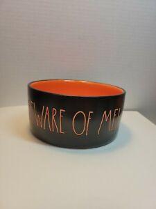"Rae Dunn Beware of Me! Black Iridescent bowl Candy Dish Pet Halloween 5"""