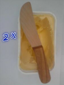 "2 x Wooden Butter Knife Oiled Handle Beech Wood Finish Cheese Spreader 7"" 18 cm"