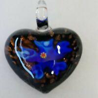 """Art Glass Pendant Clear Glass Heart Blue Flower Dichroic 1.5"""" Glass Bale 3 D"""