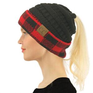 CC Ponytail Messy Bun BeanieTail Soft Winter Knit Stretch Beanie Hat