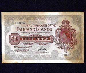 Falkland Islands  50 Pence 1974  P-10b  * Queen Elizabeth II *
