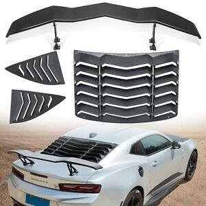 Rear Side Window Louvers Rear Spoiler Wing Tail Lid For Chevy Chevrolet Camaro