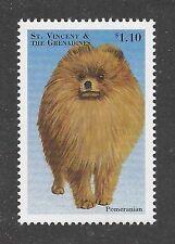 Dog Art Body Study Portrait Postage Stamp POMERANIAN St Saint Vincent MNH