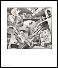 MC Escher Relativität Poster Kunstdruck Bild mit Alu Rahmen in schwarz 65x55cm