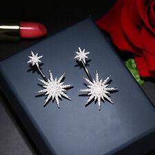 Boucles d`Oreilles Clous Argenté Ear Jacket Etoile Pavé Moderne Fashion A14