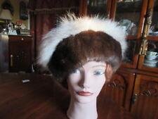 "#X41 unisex beret beanie sheared beaver brown & white fox fur hat size 22"" 23"""
