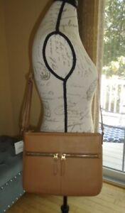 Fossil Elise Large Crossbody Bag Pebbled Leather Tan Purse NWT $158