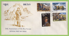 Bhutan 1982 Boy Scouts 75th Anniversary set on First Day Cover