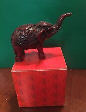 Good Luck Oriental Asian Chinese Feng Shui Statue Figure Maroon Color Elephant
