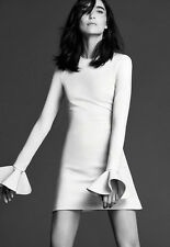 DAVID KOMA WHITE PEPLUM SLEEVE MINI DRESS UK 6-8  US 2-4
