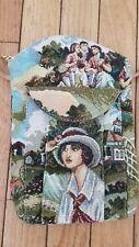 Crossbody Tapestry Fabric Handbag Victorian Scene Lady Tennis Player Never Used