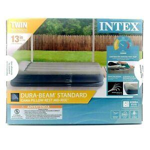 Intex 13inch Twin Dura-Beam Pillow Rest Mid-Rise Airbed Mattress Internal Pump