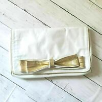 Steven by Steve Madden Clutch Envelope Bag White with Bow Gold Trim Chic Dressy