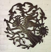 Haiti Metal Wall Art Garden Art Indoors Outdoors Angel with Sun and birds