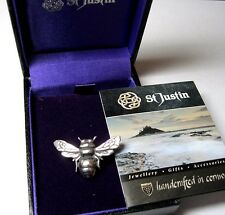 NEW VINTAGE STYLE ST JUSTIN JEWELLERY MADE IN CORNWALL PEWTER BEE PIN BROOCH