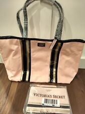 Victoria's Secret Tote Bag Pink Black and Gold Striped NWT with small handbag