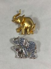 Gold Silver Tone Blue Rhinestones Elephant Brooches Pins Collectibles