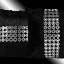 """2X SHINY CIRCLES SILVER BLACK THICK VELVET THROW PILLOW CASES CUSHION COVERS 17"""""""