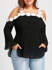 Mujer Talla Grande Encaje Flor DETALLES Suéter Blusa xl-5xl arrugado De Chifón